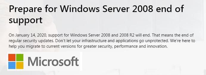 Λήξη Υποστήριξης Windows Server 2008 & Windows 7 από τη Microsoft